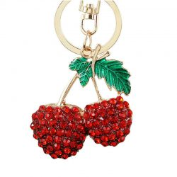 Körsbär i strass nyckelring retro